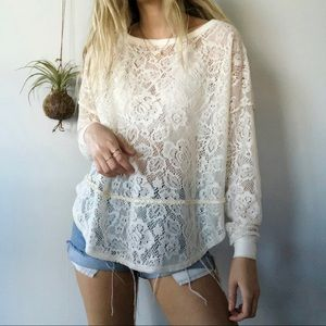Free People fuzzy lace oversized detailed boho top